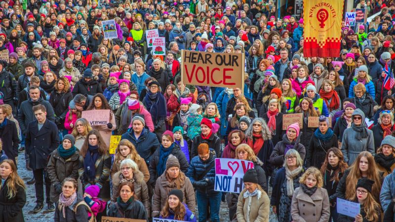 Protesters gather for the Women's March in Oslo, Norway.