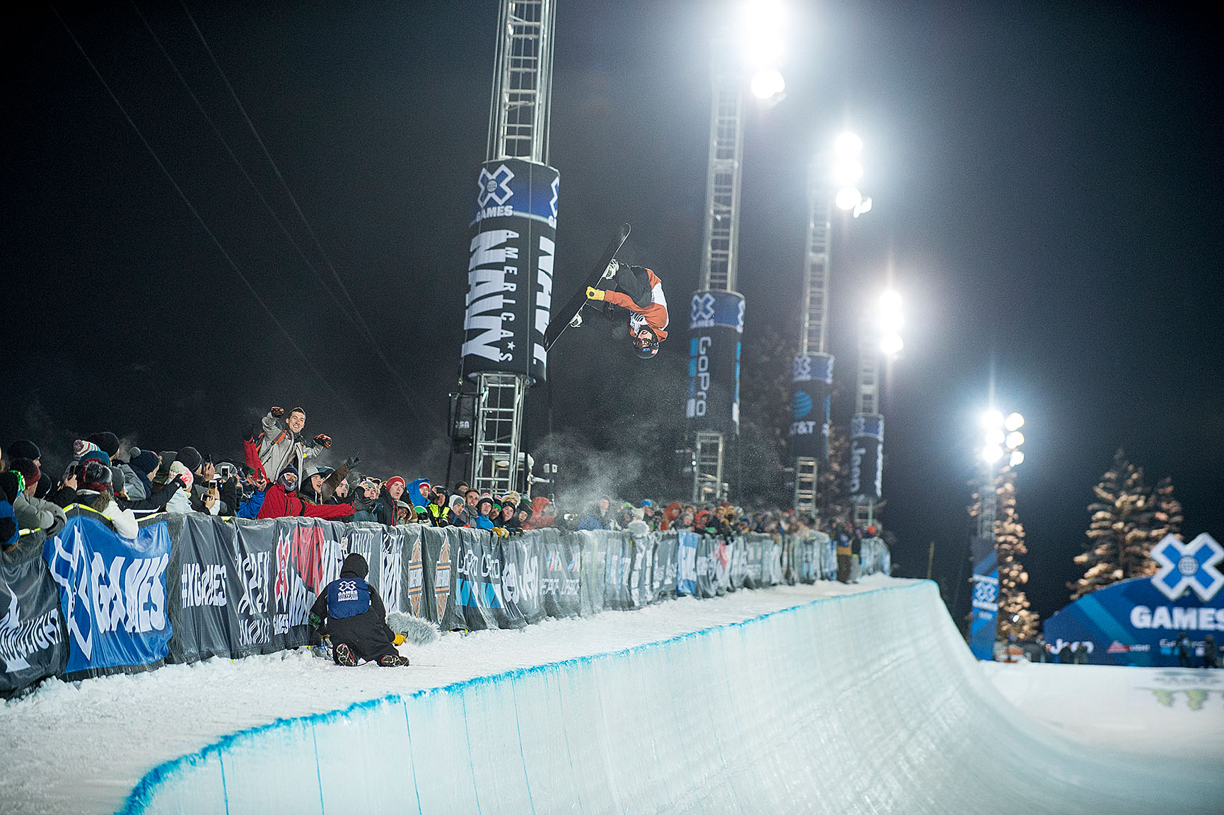 Taylor Gold broke his kneecap right before X Games last year and couldn't compete, but he seems to be fully healed from that injury now. Gold, brother of Arielle who will be competing in Women's Snowboard SuperPipe on Saturday night, made the X Games Aspen SuperPipe podium for the first time, finishing the night with a bronze medal.