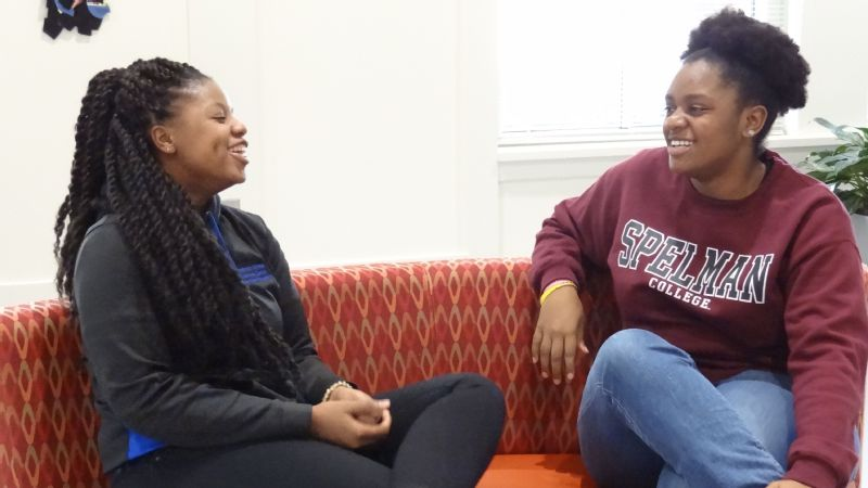 From left, students Taylor Parnell and Shanice Alexander note that Spelman's Wellness Center initiative has improved their overall health and well-being.