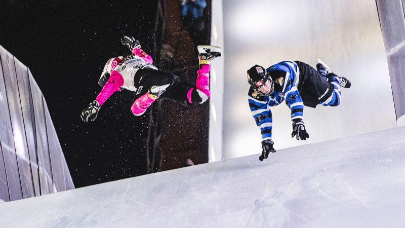 Jacqueline Legere falls during the finals of the second stage of the Ice Cross Downhill World Championship in January 2016 in Munich.