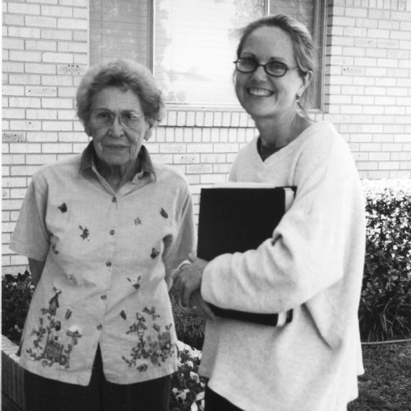 Virginia Hamilton Childers, left, with the author Lydia Reeder in 2002.