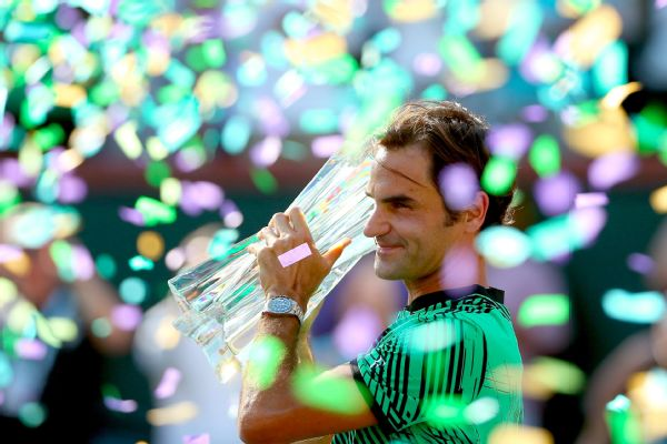 Roger Federer celebrates his win over Stan Wawrinka in the men's final of the BNP Paribas Open.