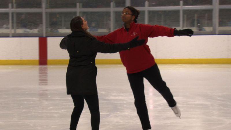 Sharita Taylor with her coach, former elite figure skater Tonia Kwiatkowski.