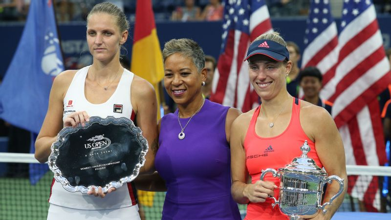 Katrina Adams, center, who played collegiate tennis at Northwestern University, is the president and chief executive officer of the United States Tennis Association.