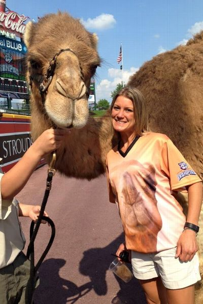 In addition to putting bacon on a hat, Lindsey Knupp put a camel on both the front and back of a jersey for Hump Day.