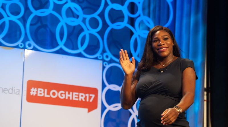 Serena Williams speaks at the BlogHer conference, talking about her role on the board of SurveyMonkey and what she will be doing as an ambassador for the Allstate Foundation's Purple Purse project.