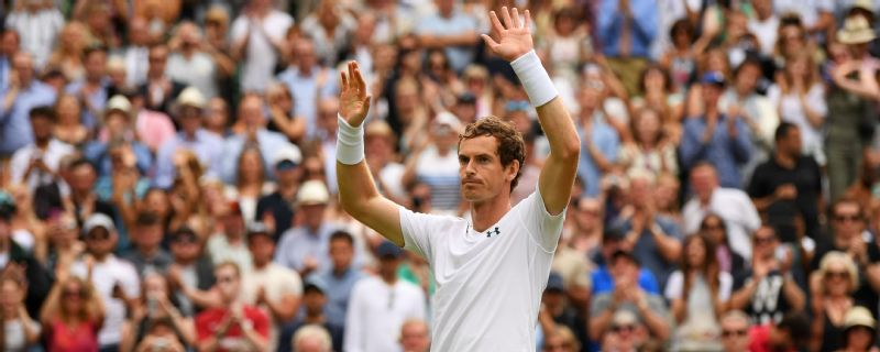 Andy Murray acknowledges the crowd after his first-round win at Wimbledon.