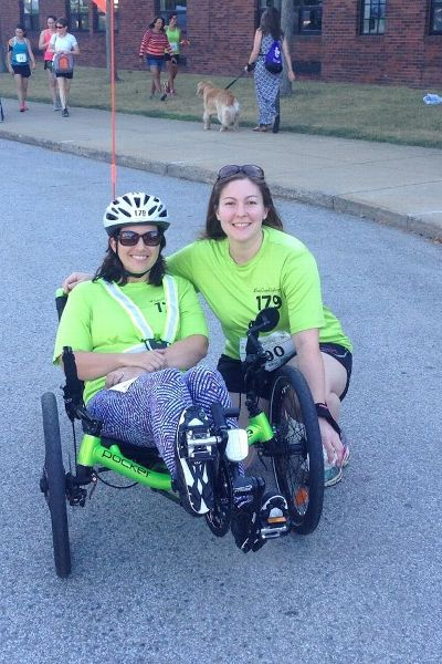 Andrea Peet and her best friend, Julie Wesner at the 2014 Ramblin Rose sprint triathlon.