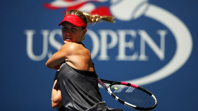 Eugenie Bouchard fell to Evgeniya Rodina in straight sets in the first round of the US Open.