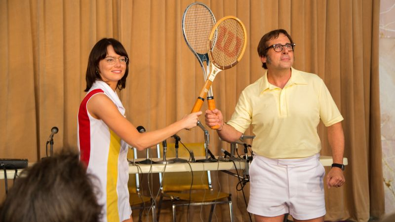 Emma Stone and Steve Carell in a scene from Battle of the Sexes, which releases on Sept. 22.