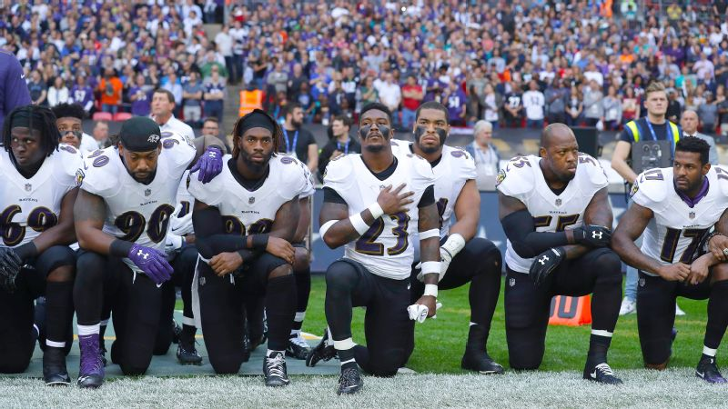 The Ravens never had players protest during the national anthem prior to Sunday's game against the Jaguars.