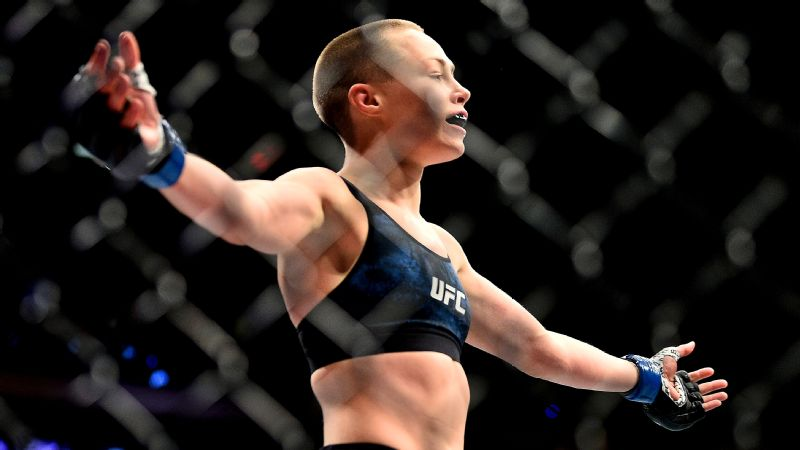 Rose Namajunas got Joanna Jedrzejczyk to tap out due to strikes at 3:03 of the first round.