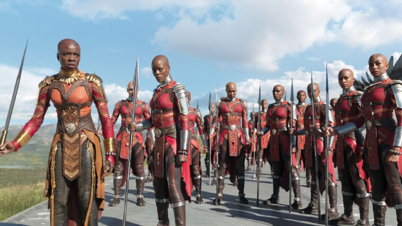 Okoye (Danai Gurira) and the Dora Milaje help protect the Black Panther and all of Wakanda.