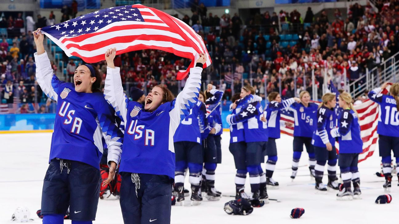 The U.S. celebrates after winning the women's gold medal hockey match against Canada in Pyeongchang.