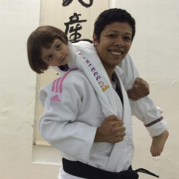 Grace Talusan with her daughter, Devyn, who also does judo.