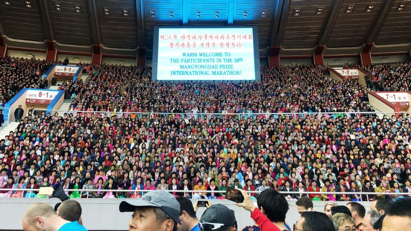 Kim Il Sung Stadium boasts 50,000 seats and was at capacity on marathon day. As we entered the stadium for the opening ceremonies, deafening cheers gave us a palpable energy that carried over into the streets, which were lined with people watching.