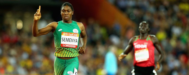 Caster Semenya crosses the line to win the Women's 800 metres final on day nine of the Gold Coast 2018 Commonwealth Games at Carrara Stadium.