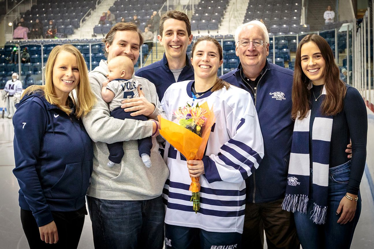 There were seven Wulfs -- Rachel, Bo, Casey, John, Elizabeth, Steve and Eve -- in attendance for No. 7 at Middlebury's annual Senior Night.