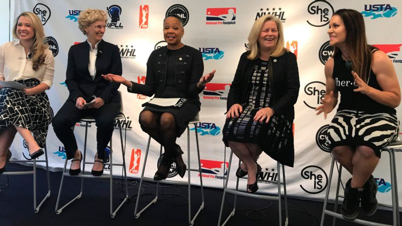 In April, CWHL commissioner Brenda Andress, second from left, joined with top executives of eight women's leagues, including the NWHL, to take the SheIS pledge to help each other increase resources, viewership and attendance.