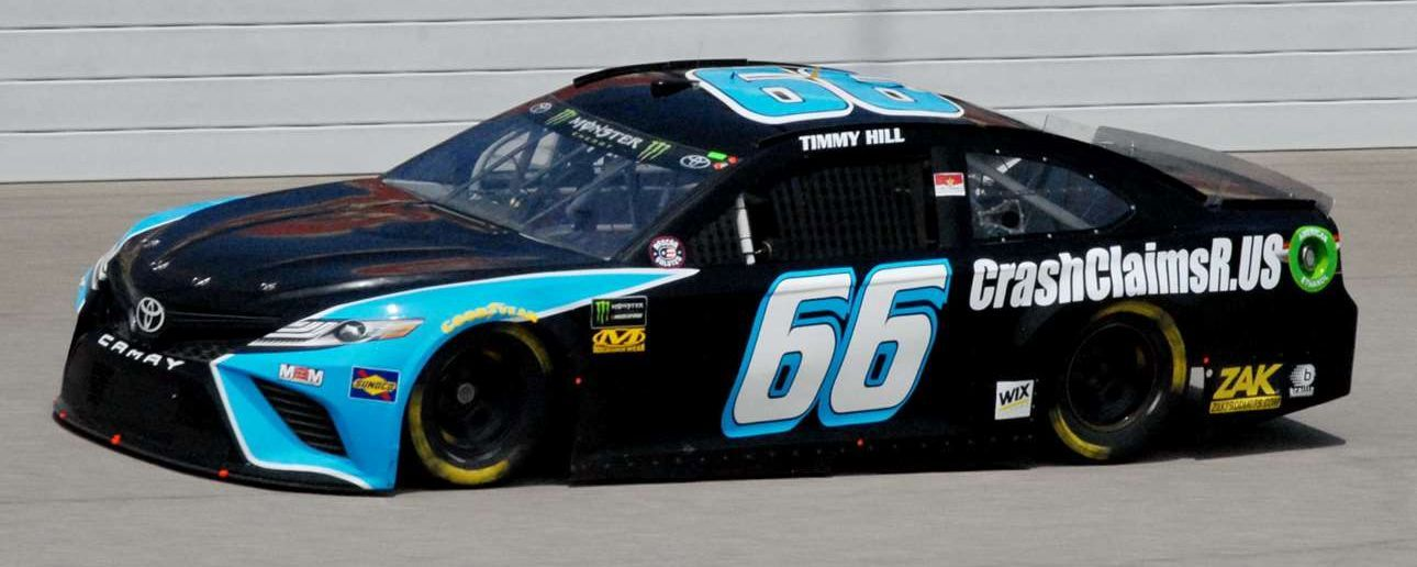 Timmy Hill in the #66 CrashClaimsR.US Toyota at Michigan International Speedway in June 2018.