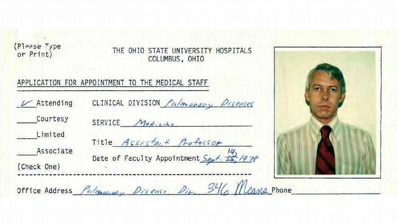 File photo shows a 1978 employment application information for Dr. Richard Strauss, from Ohio State University personnel files.