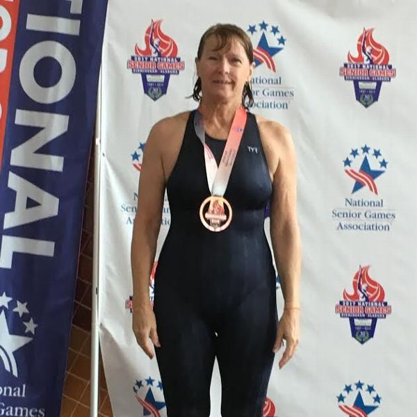 Darcy McBride after winning a bronze medal at the National Senior Games in the 200-meter backstroke in 2017.