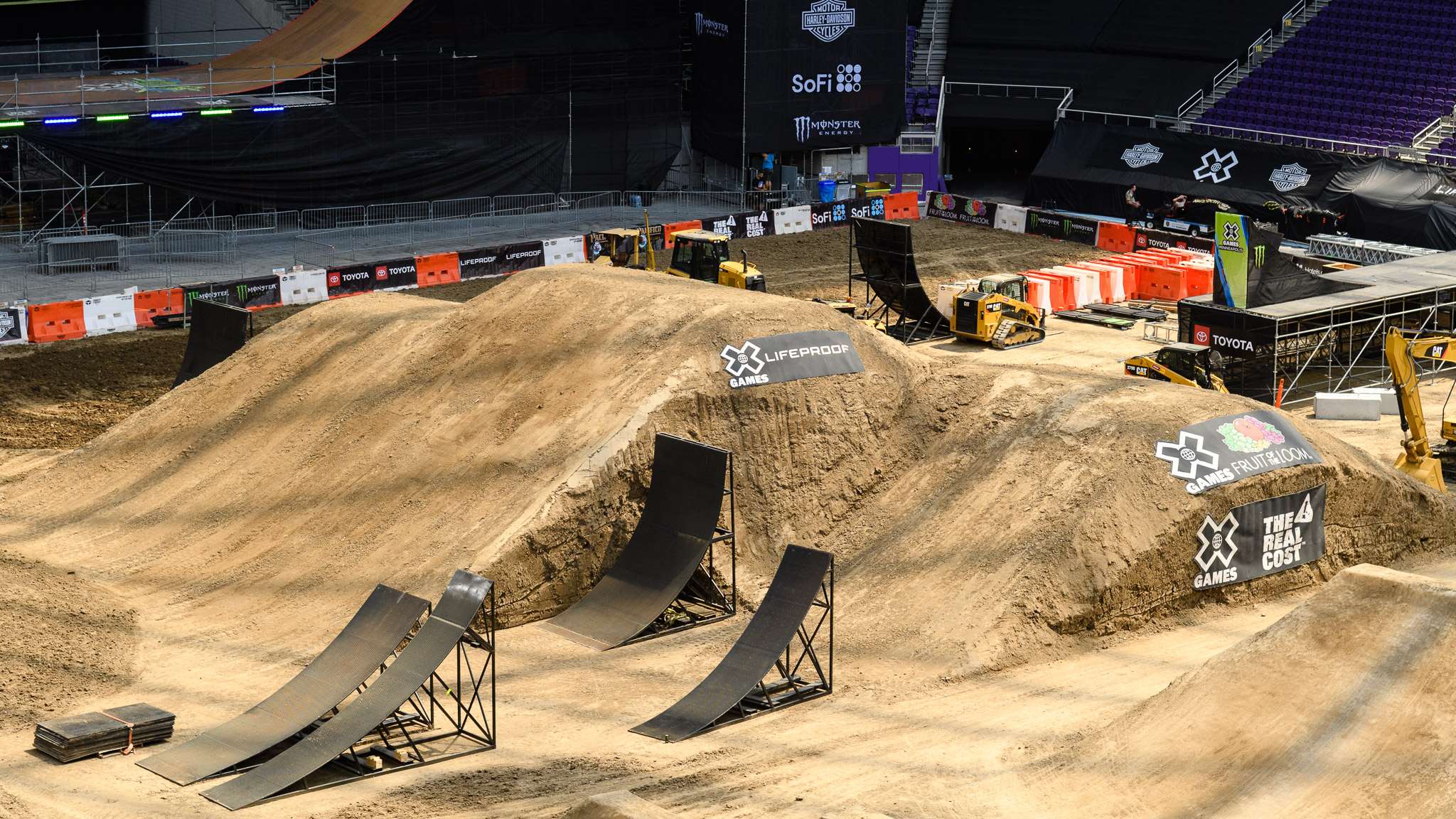 Here's an overall glimpse of the Moto X Freestyle build in progress. Once the action starts, the Moto X courses will continue to evolve to match the needs of each competition. Yes, X Games builds go overnight during X Games week.