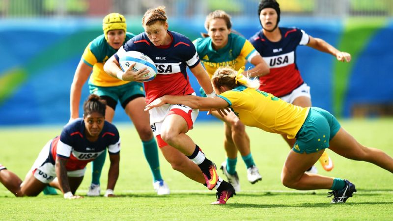 Alev made a break past Emma Tonegato of Australia during the Women's Rugby Sevens at the Rio Games.
