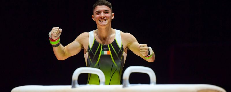 Rhys McClenaghan reacts to his perfect pommel horse routine that won the European title.