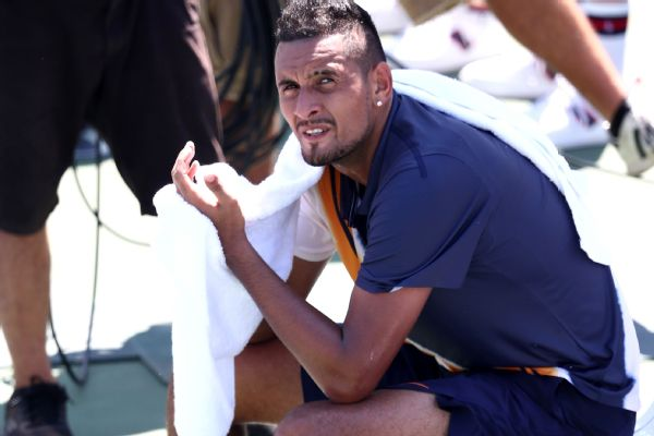 Nick Kyrgios denied that chair umpire Mohamed Lahyani gave him a pep talk and said the conversation had no effect on the outcome of the match.