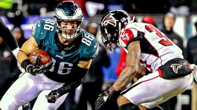 Zach Ertz made a big play to help the Eagles beat Atlanta last weekend, and he needs to be a weapon this Sunday as well.