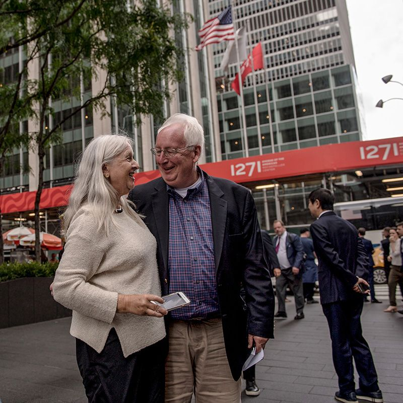 Ludtke poses with ESPN writer and longtime friend Steve Wulf during a tour around midtown with New York Sports Tours on Monday.