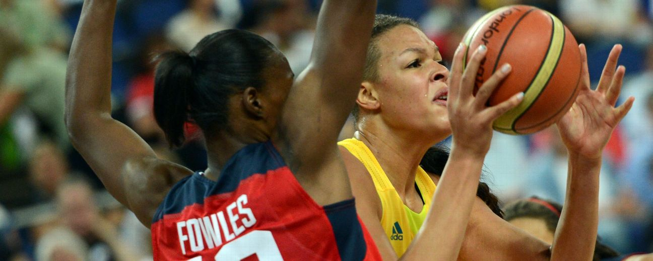 Australian centre Elizabeth Cambage is challenged by US centre Sylvia Fowles during the London 2012 Olympic Games.