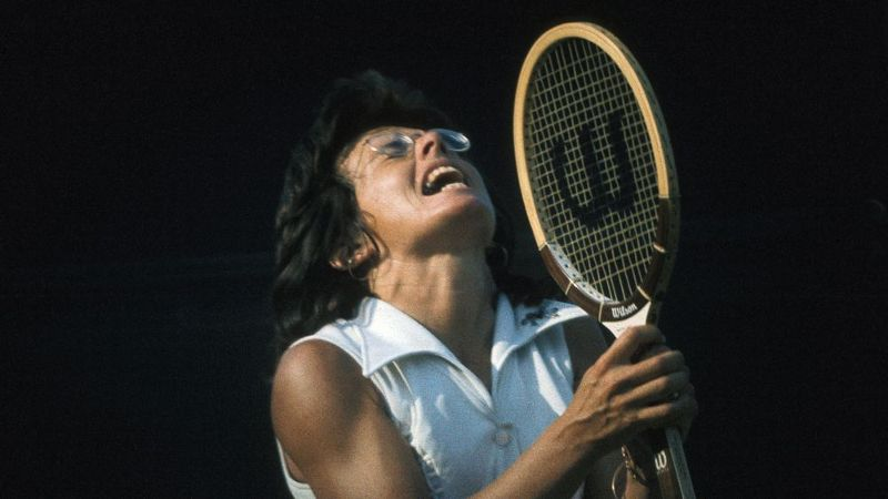 King gripping her racket in 1973.