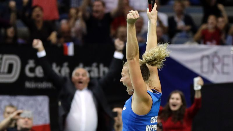 Katerina Siniakova celebrates after defeating Sofia Kenin of the United States to give the Czech Republic a 3-0 win in the Fed Cup final on Sunday.