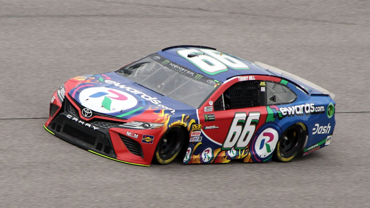 Timmy Hill runs through turn four during practice at Homestead-Miami Speedway.