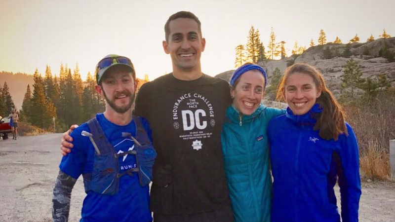 Two of the organizers and fundraisers of the unofficial 50K race, Jonathan Levitt (left) and Jenny Medvene-Collins (third from left), with fellow runners Brian Bussell (second from left) and Katie Johnston-Davis (far right) after the run.