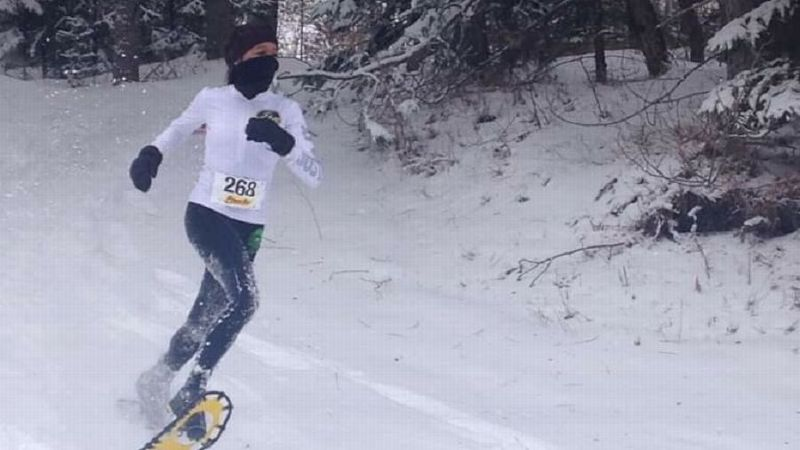 Jennifer Chaudoir has competed in the snowshoe world championships twice, winning her age group both times.