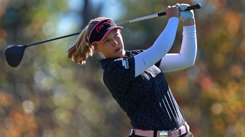 Brooke Henderson tees off on the seventh hole on Friday.