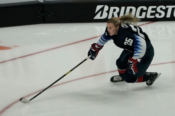 Kendall Coyne Schofield competes in the fastest skater competition during the NHL All-Star skills competition Friday night.