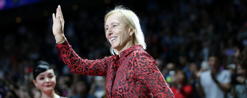 Martina Navratilova at a prize ceremony during the BNP Paribas WTA Finals in Singapore -- Oct. 28, 2018.