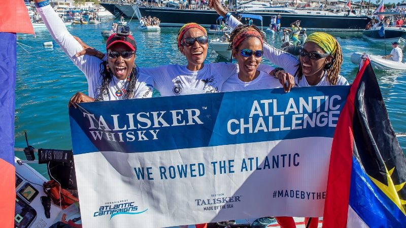The Island Girls rowed more than 3,000 miles across the Atlantic Ocean over 47 days, 8 hours and 25 minutes for the Talisker Whisky Atlantic Challenge. Upon reaching their final destination, they celebrated.