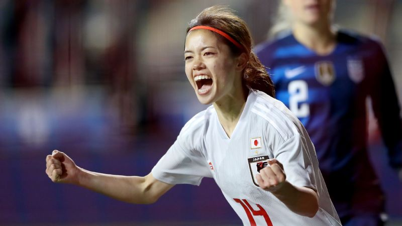 Japan's Yui Hasegawa celebrates teammate Yuka Momiki's goal in stoppage time Wednesday. The United States and Japan have met in the last two World Cup finals.