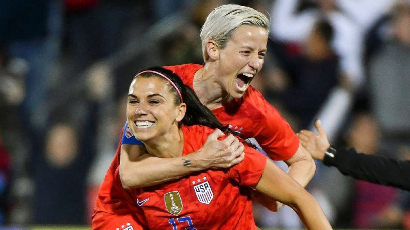 Alex Morgan and Megan Rapinoe both scored as the USWNT beat Australia in a Women's World Cup tune-up on Thursday.