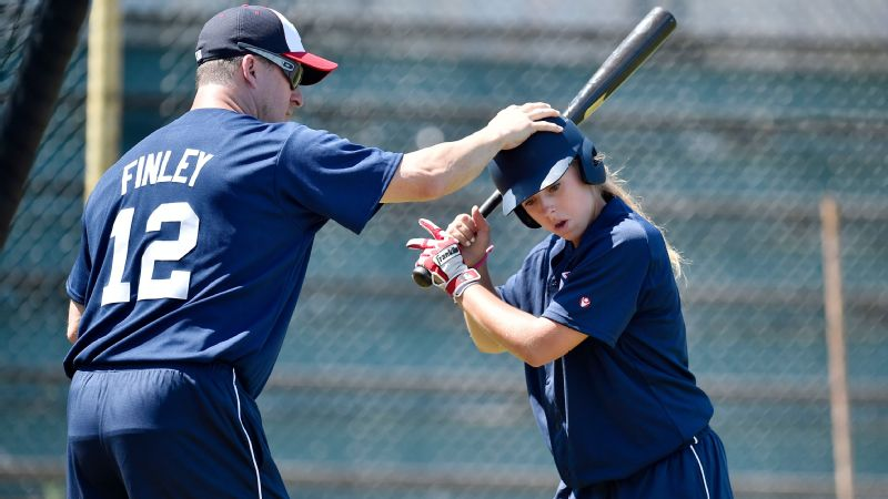 Two-time All-Star Steve Finley instructs Melissa Mayeux during the 2015 MLB European Elite Camp.
