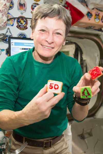 The crew of Expedition 50 gathered to celebrate holidays aboard the ISS. Whitson and the crew had a cookie decorating contest.