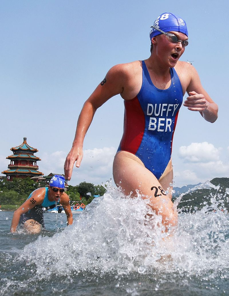 Flora Duffy of Bermuda leaves the water during the Women's Triathlon Final at the Triathlon Venue on Day 10 of the Beijing 2008 Olympic Games.