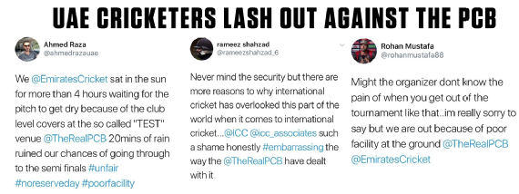 The tweets from the UAE cricketers