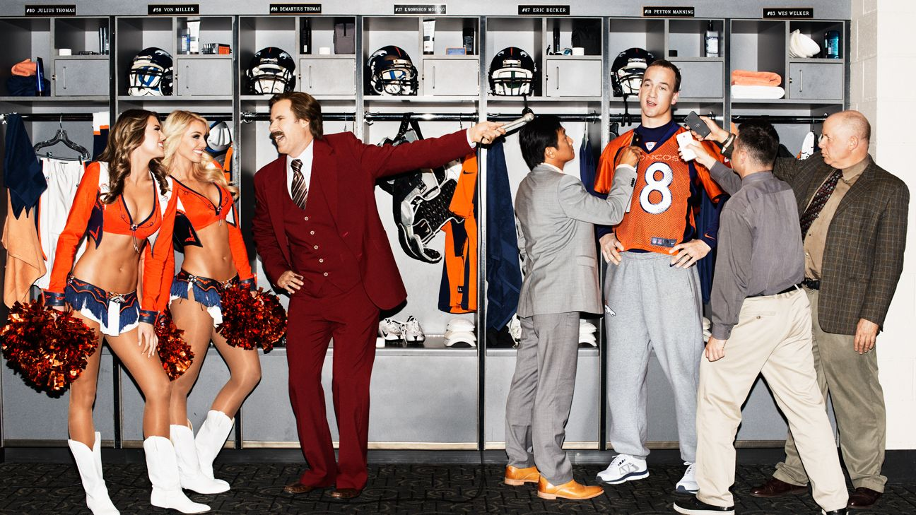 a14eccd30 Denver Broncos QB Peyton Manning interviewed by Ron Burgundy - ESPN The  Magazine