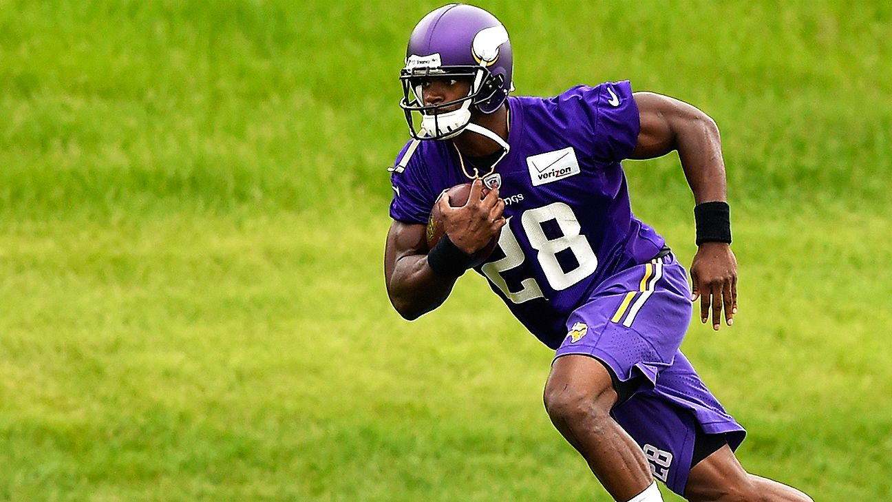 Adrian Peterson greeted by supportive Vikings fans at training camp